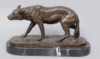Copper decoration Fine Buddha Brass Bronze Statue of Hungry Wolf Statue Bronze sculptures based Marble decoration of the Office