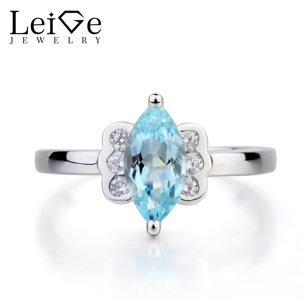 Leige Jewelry Natural Aquamarine Ring Cocktail Party Ring March Birthstone Marquise Cut Blue Gemstone Solid 925 Sterling Silver