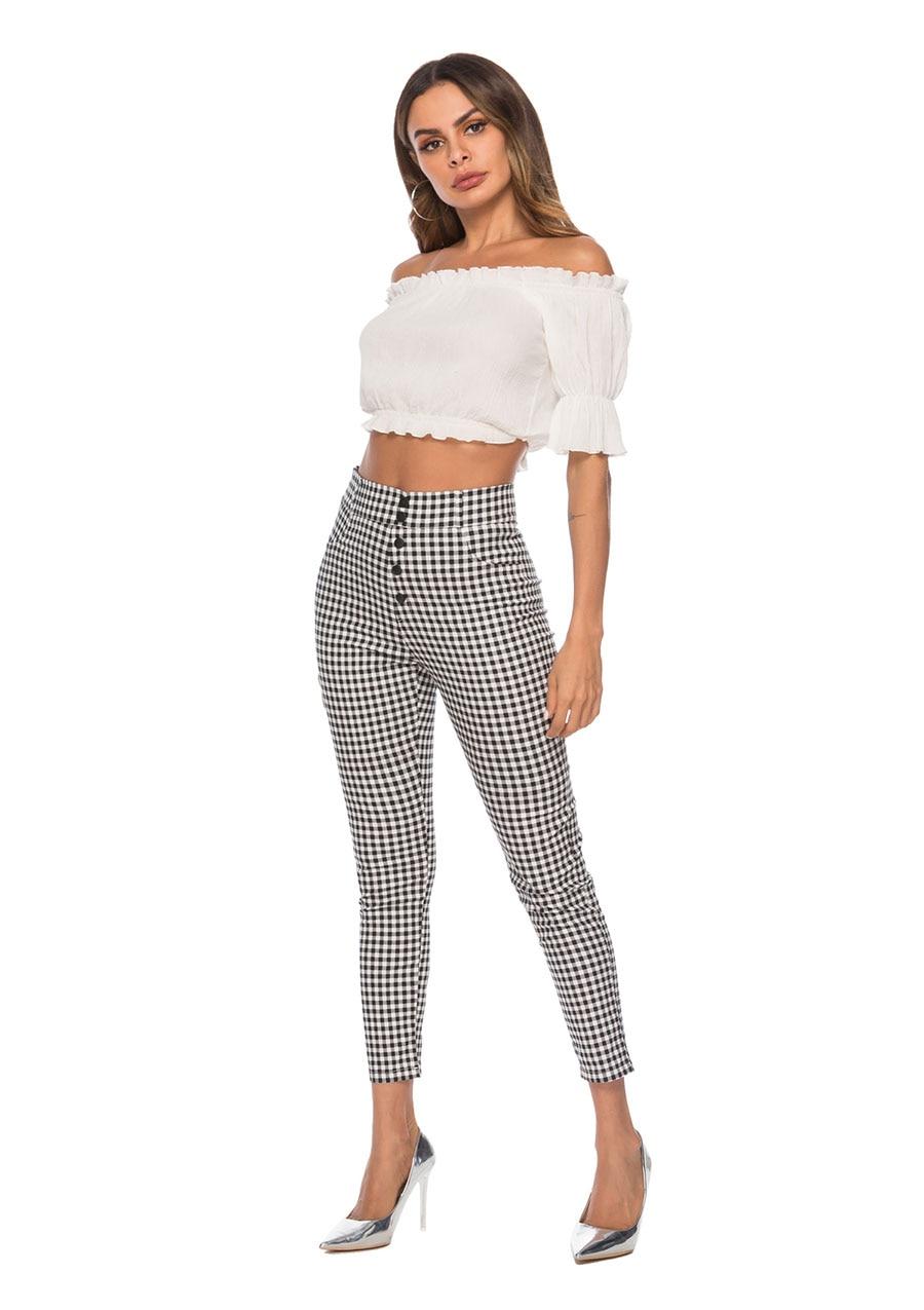 Benuynffy Vintage Button High Waist Plaid Pants Summer Office Lady Workwear Trousers Women Elegant Side Zipper Pencil Pants 6