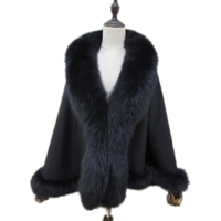 Женская из натурального кашемира зимняя накидка полукруг пончо натуральным лисьим меховой воротник плащ пальто 7 цветов чёрный; коричневый