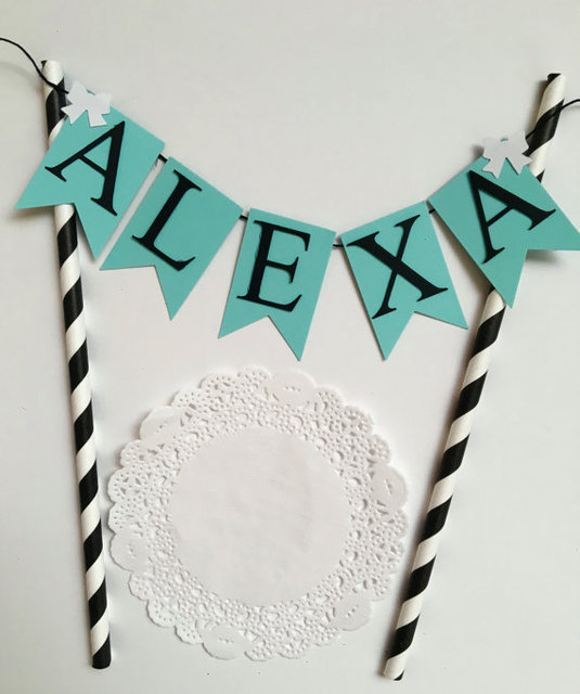 Custom name light blue birthday Cake Toppers tools Baby shower