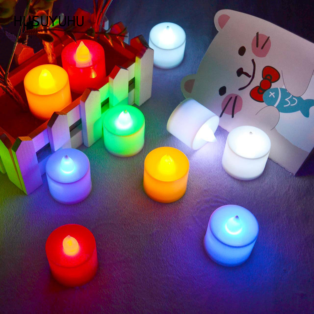 Husuyuhu Color Flameless Led Electronic Candle Wedding Party Decor Small Led Candles Blinking Flicker Light Simulation Romantic