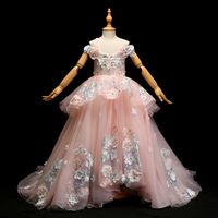 Роскошные платье принцессы 2018 Новый Дизайн Платье в цветочек для девочек Аппликации бальное платье длинные тропы кружева свадебная вечери