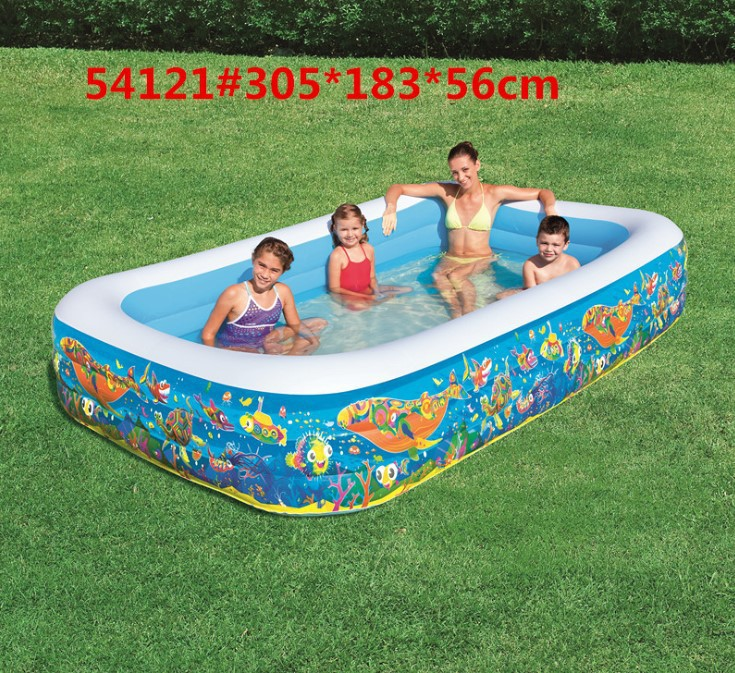 54121 Bestway 305x183x56cm Play Pool For Kids Rectangular 3-Ring Inflatable Pool 1161 L Bath Pool 10x72x22 Ball Pool For Baby