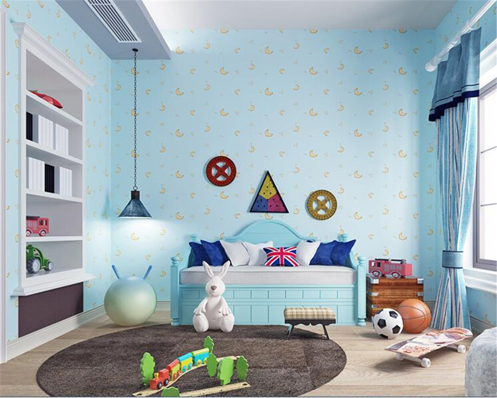 Painting Supplies & Wall Treatments Wallpapers Beibehang Wallpaper For Walls 3 D Non-woven Sticker Wallpaper Cartoon Moon Flash Wallpaper Background Wall Paper For Kids Room