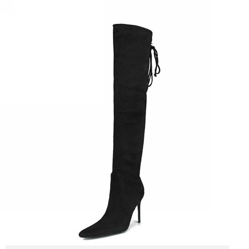 2018 ผู้หญิงฤดูหนาวกว่าเข่ารองเท้าสำหรับรองเท้าผู้หญิง Pointed นิ้วเท้าเซ็กซี่รองเท้าส้นสูงต้นขายาวสูงรองเท้าสีดำ