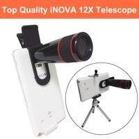 Len Lente telefone Universal Clip-on 12 xtelephoto iNOVA Com Tripé e Suporte Do Telefone Retrátil Telescópio para S6 7 borda Nota 4/5