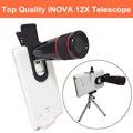 INOVA teléfono Universal Clip-on 12 8xtelephoto Lente len Con Trípode y Soporte Para Teléfono Retráctil Telescopio para S6 7 borde Nota 4/5