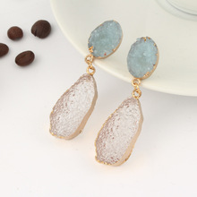цена на Korean Fancy Chic Stone Druzy Resin Earrings Long Drop Earrings For Women Jewelry Statement Gifts For Women Accessories Brinco