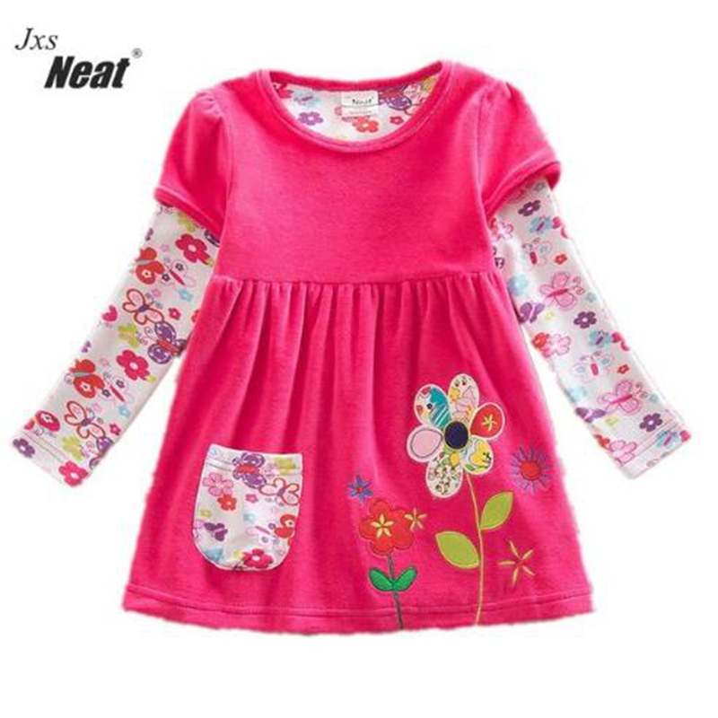 2016 Retail baby Girl Clothes Long Sleeve Girls Dress Flowers Kids clothing princess Dresses A-line clothing LD6660 toddler girl dresses chinese new year lace embroidery flowers long sleeve baby girl clothes a line red dress for party spring