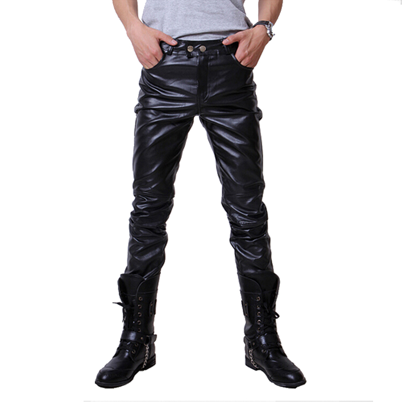 Spring And Autumn Men Skinny PU Trousers Slim Mens Faux Leather Pants, Long Motorcycle Tight Leather Pants Men Black Size 5XL