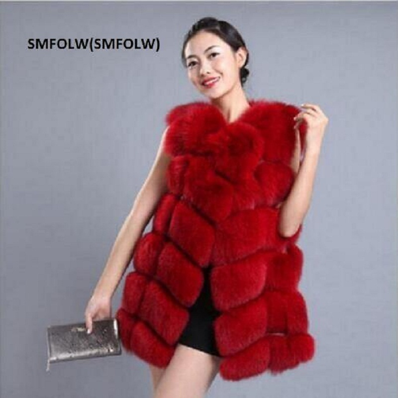 Can be customized Plus Size Winter Coat Women Fox Fur Vest With a Pocket High-Grade Faux Fur Coat Leisure Female Fox Fur Vest