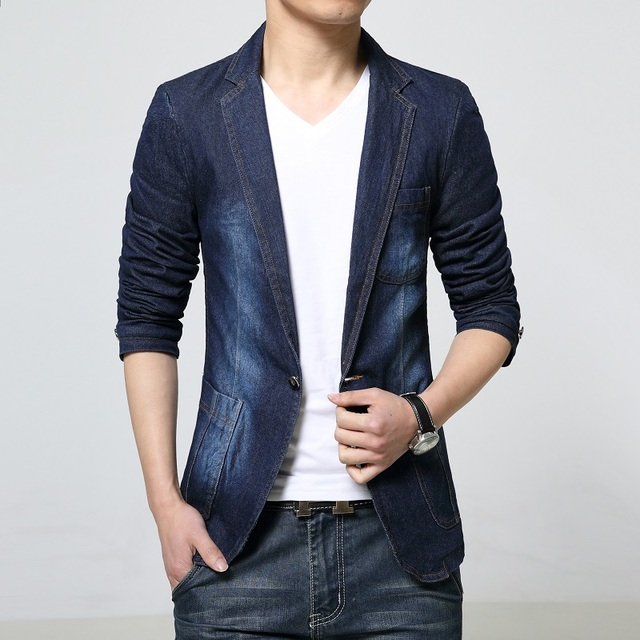 4ccec188fa 2016 autumn new hot selling men s denim personality leisure suit jacket  Korean Slim small suit jacket