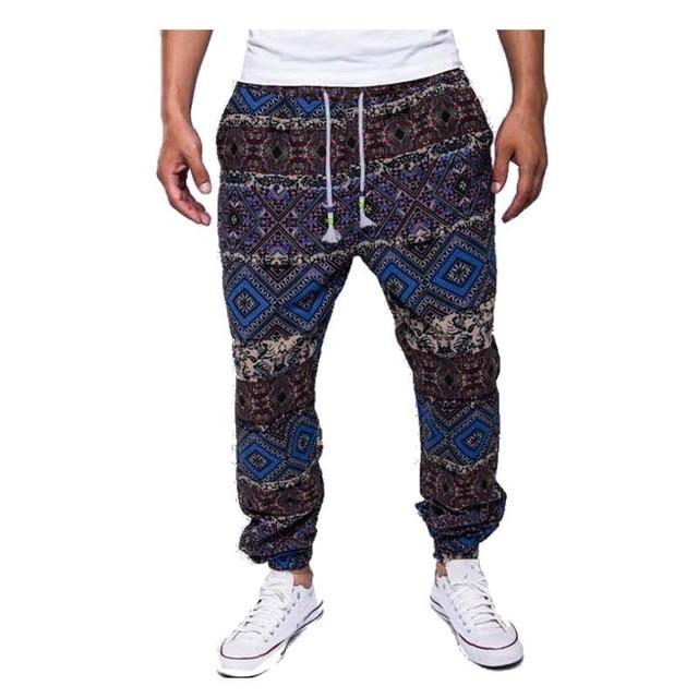 2016 New Mens Retro Cotton Linen Men Harem Casual Pants Trousers Males Hip Hop Floral Flower Printed Pants Plus Size Popular