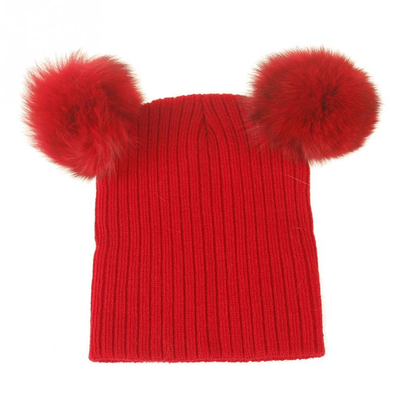 Clearance High Quality Fashion Winter Warm Cap Hat Children Cap Knit Hat Warm Colorful double Fur Ball Hats