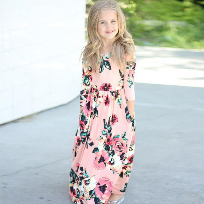 2018 Spring Western Style Girls Long Floral Dress Elegant Baby Girl Clothes Cotton Ankle-Length Casual Kids Beach Dresses 3-10T new cotton girl dress casual knee length solid long sleeve kids dresses for girls yellow baby girl dress spring fall 2017 hot