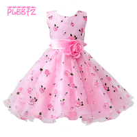 Retail Little Flower Girl Dresses With Rose Tulle Princess Dresses Elegant Gown Evening Dress For Kids