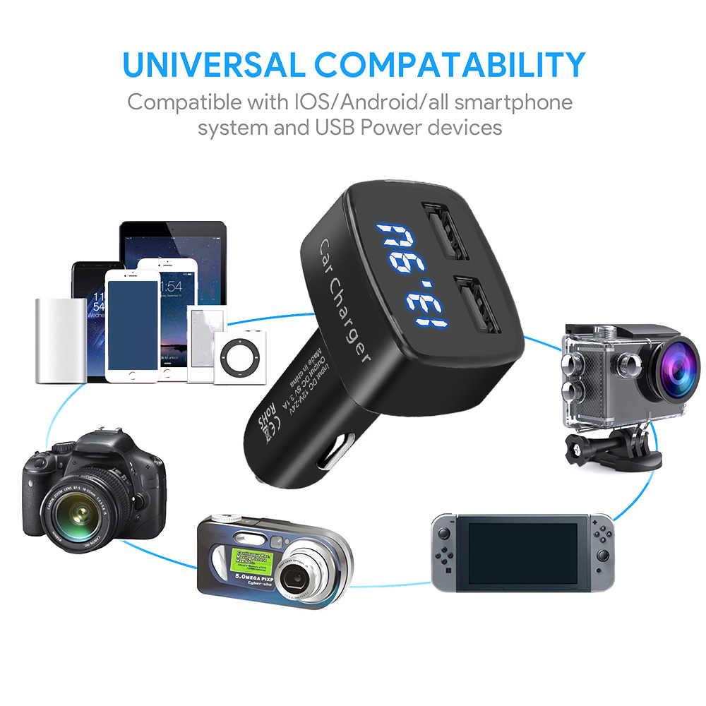KEBIDU 듀얼 USB LCD 디스플레이 자동차 충전기 전압/온도/전류 측정기 테스터 파란색 단락 보호 디지털 디스플레이