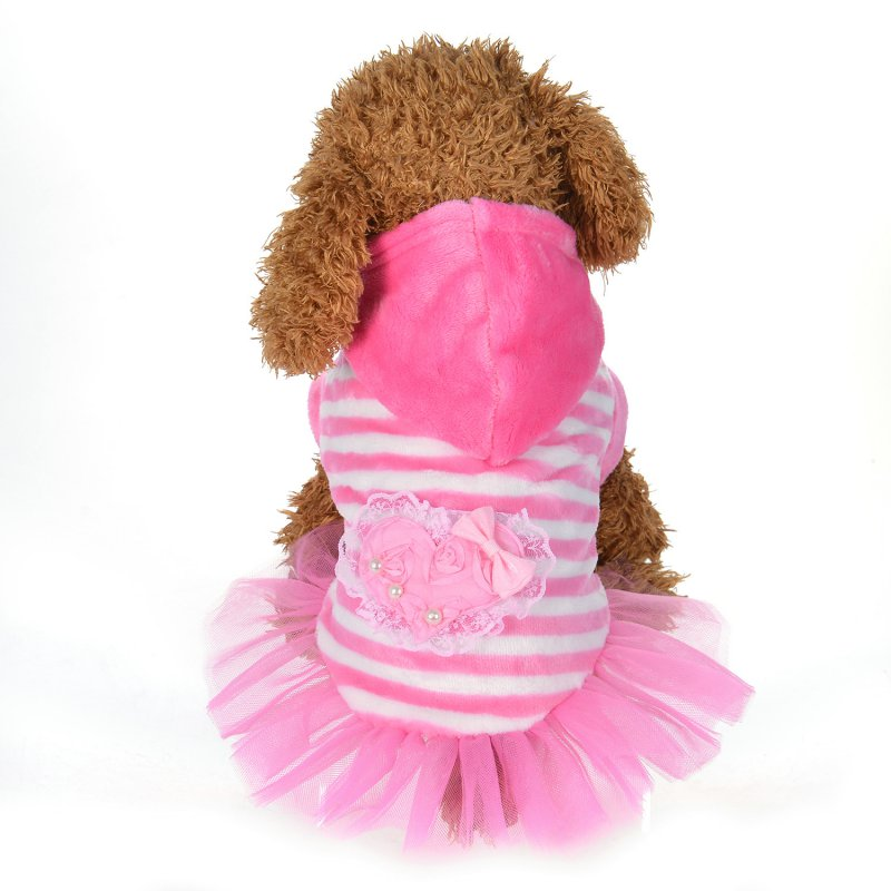 Pet Dog Clothes Cute Pink Blue Lace Dog Dress Small Dog Clothes Puppy Striped Skirts Clothes Hooded