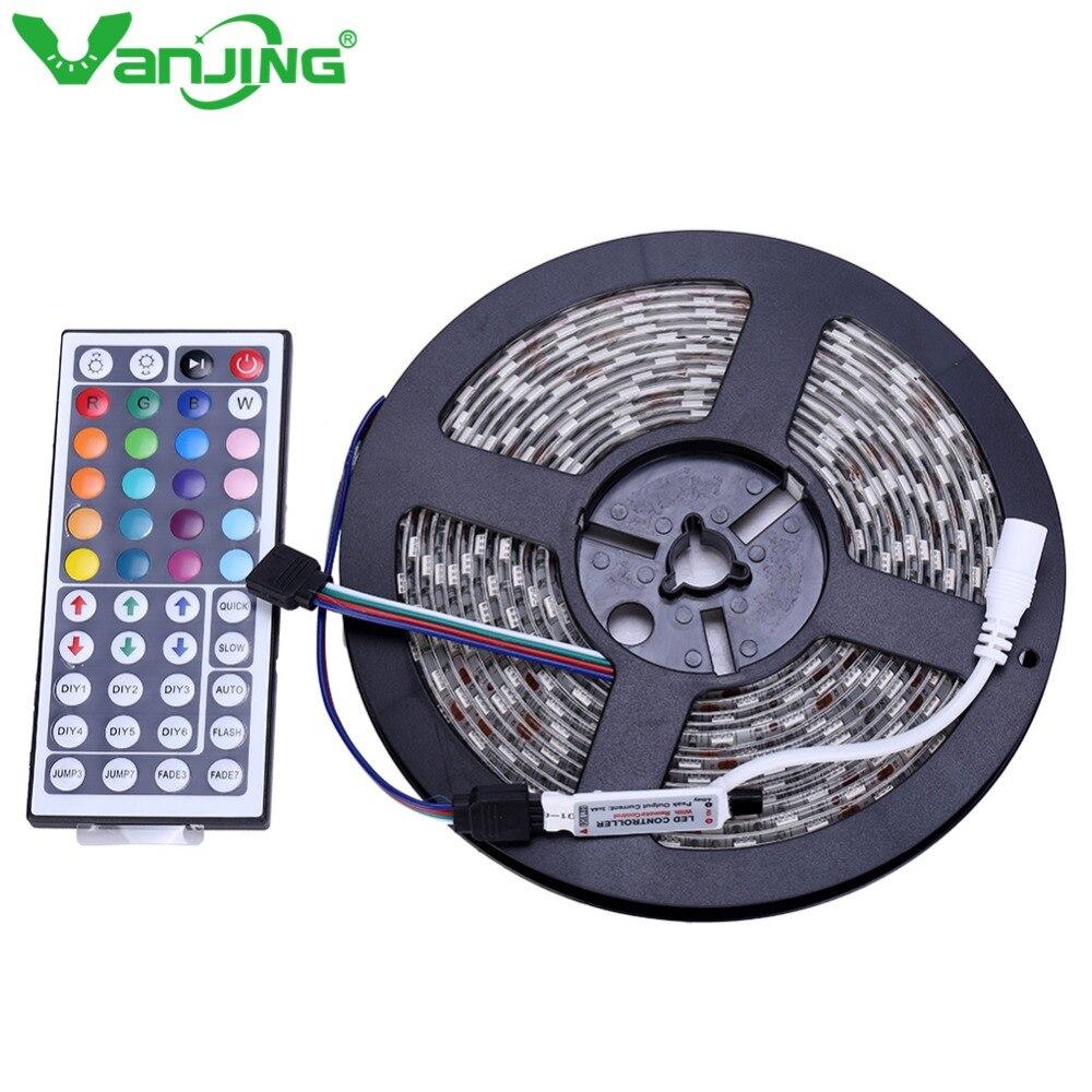 Waterproof 5050 RGB LED Strip 5M 300LEDs SMD+ 44Key Mini IR Remote Controller IP65 RGB LED Light Strip Tape Ribbon