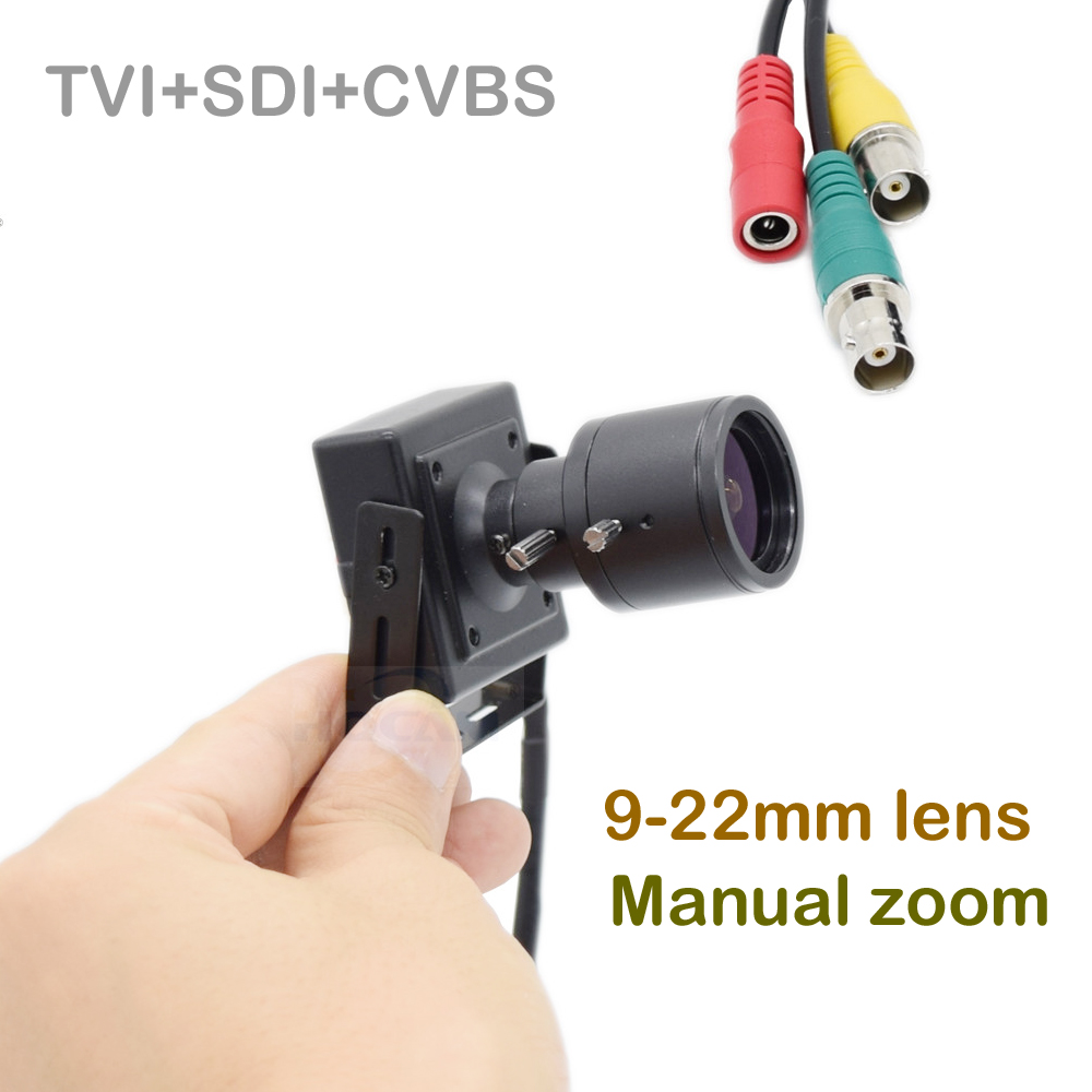 HQCAM TVI+SDI+CVBS 50fps 60fps 1080P EX/HD-SDI Camera 9-22mm Manual zoom lens Mini SDI Camera BOX Cameras WDR OSD controller hd 2mp 9mm 22mm zoom manual focal cs lens for hd ip sdi ahd cameras
