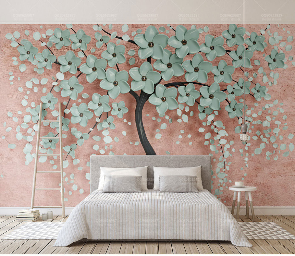 Us 16 71 45 Off Home Decor Wall Papers 3d Embossed Tree Wall Painting Custom Photo Wall Paper Murals Bedroom Self Adhesive Vinyl Silk Wallpaper In