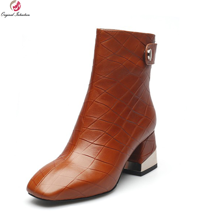 Original Intention Gorgeous Women Ankle Boots Cow Leather Square Toe Square Heels Boots Black Orange Shoes Woman US Size 4-10.5 original intention new women ankle boots cow leather round toe square heels boots popular black brown shoes women us size 3 10 5