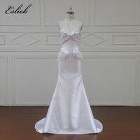 Eslieb Robe De Soiree סקסי ארוך בת ים שמלות כלה חרוזים רכבת לטאטא עטוף חתונה שמלה פלוס חתונת גודל 2018