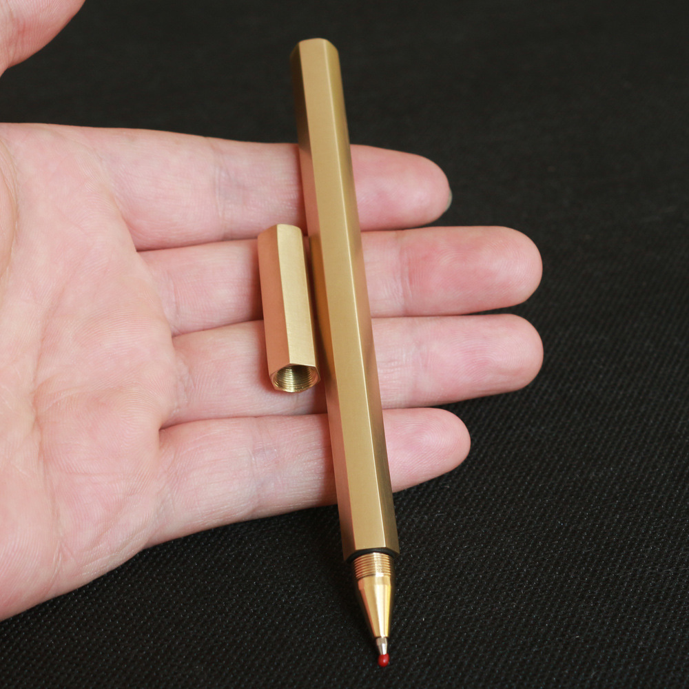Hexagonal Brass Gel Pen Handmade Pure Hexagonal Brass Pen Metal Gel Pen Bamboo Copper Pen Creative Gift School Office Stationery