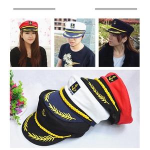 Image 5 - JUILE LI Parent child navy hat cotton fashion military cap red black white classic captain hat men and women children sailor hat