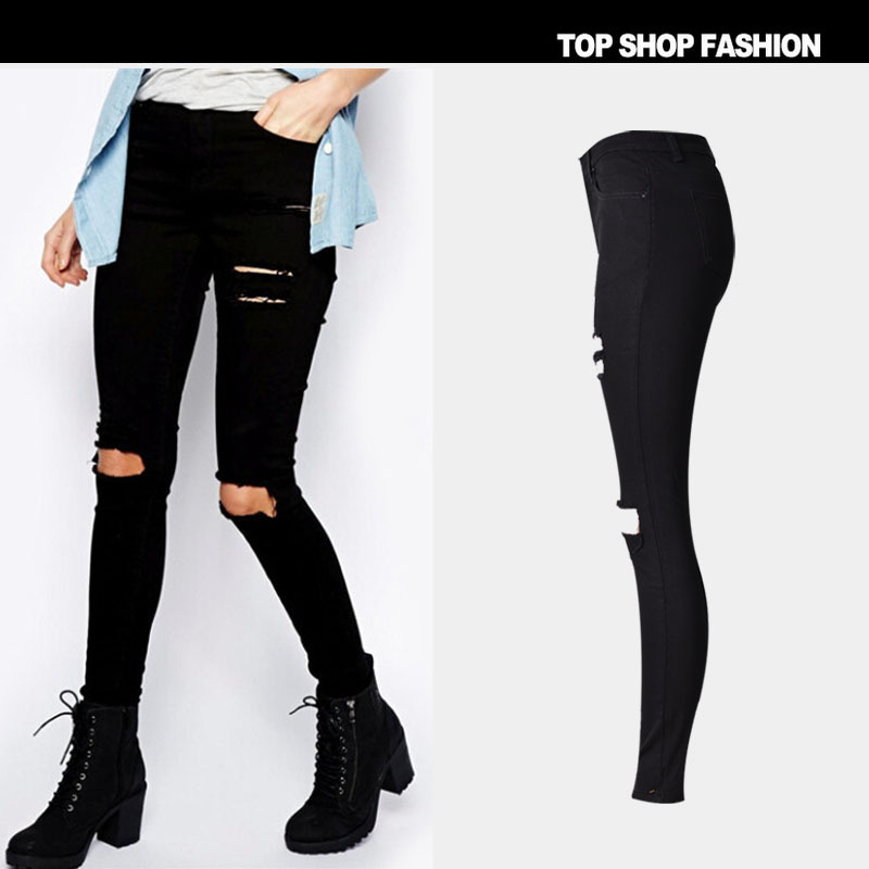 spring fashion slim elastic pencil pants black high waist jeans street style rock distressed. Black Bedroom Furniture Sets. Home Design Ideas