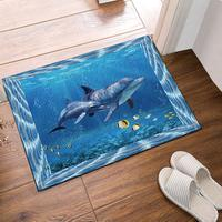 Two Cute Dolphin Ocean Theme New Style Modern Art Bath Rugs, Non Slip Doormat