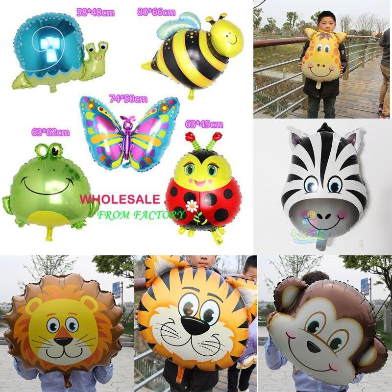 1 adet Büyük şişme hayvan balonlar Kurbağa Salyangoz Arı Kelebek folyo balon çocuk doğum günü partisi dekorasyon oyuncaklar bebekler için