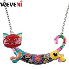 WEVENI Statement Alloy Unique Cat Kitten Choker Necklaces Pendants Chain Collar New Fashion Accessories Enamel Jewelry For Women(China)