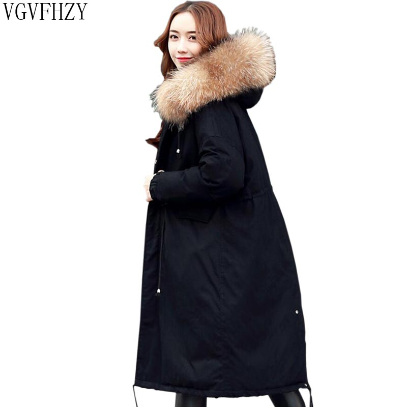 New Fashion 2018 winter Women's 90% white duck   down   jacket oversize long   down     coat   large real raccoon fur Hooded Parka LY1273