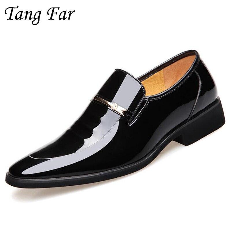 Мужские деловые кожаные туфли с острым носком, Мужские модельные туфли из лакированной кожи, роскошные брендовые туфли-оксфорды, свадебные ...