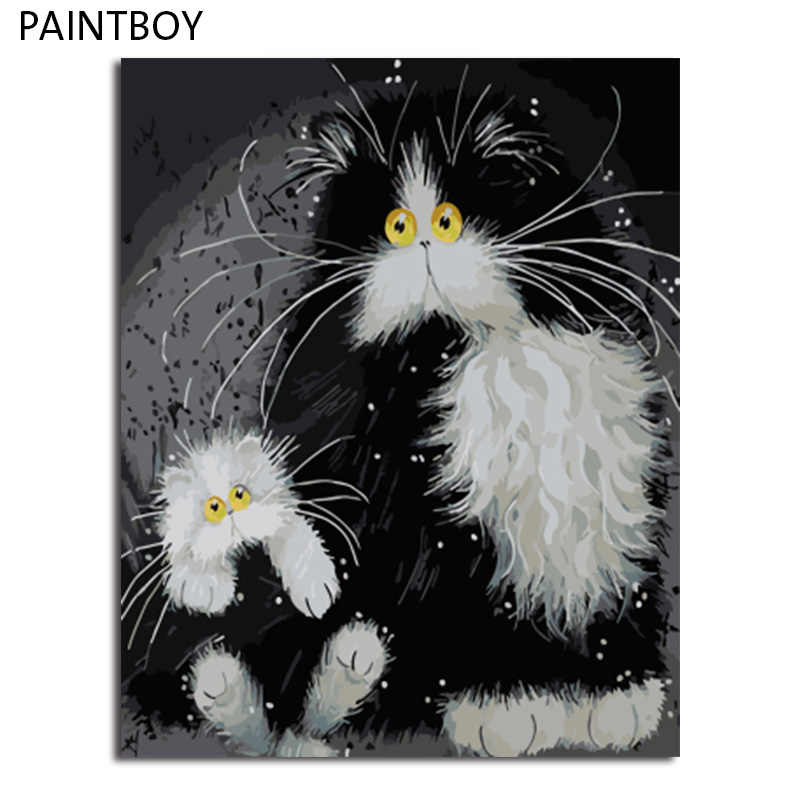 PAINTBOY Framed Pictures Painting By Numbers of Animal Cat Handwork Canvas Oil Painting Home Decor For Living Room
