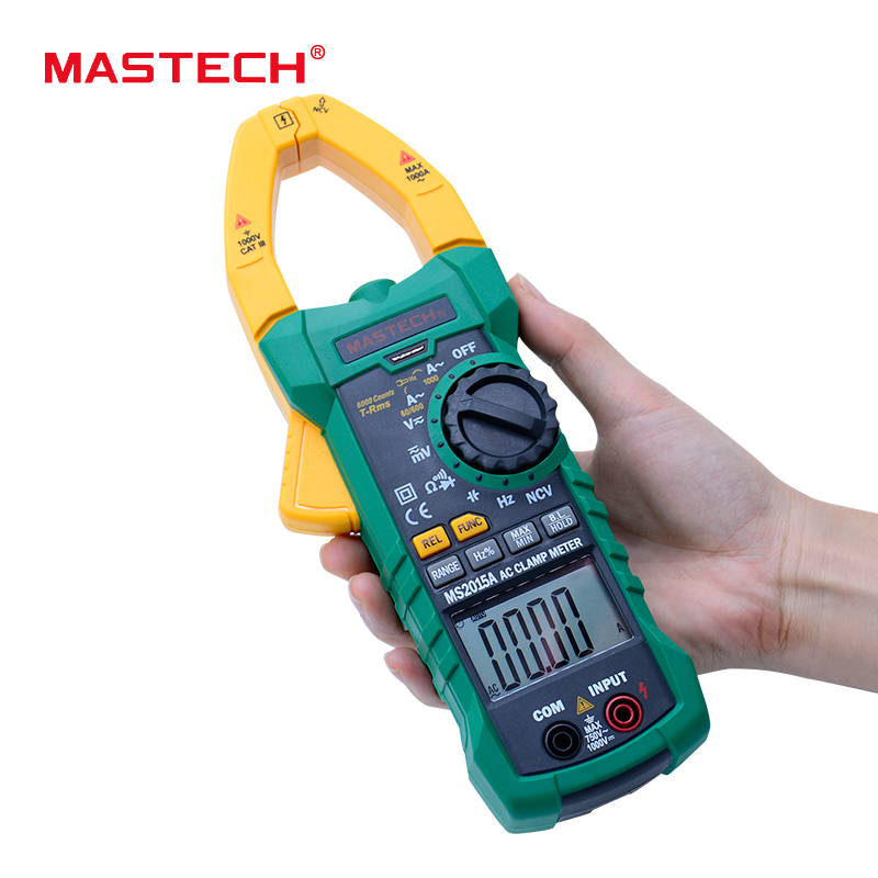 MASTECH MS2015A AutoRange Digital AC 1000A Current Clamp Meter True RMS Multimeter Frequency Capacitance Tester NCV digital dc ac clamp meters multimeter true rms voltage current resistance capacitance 1000a tester mastech ms2115a