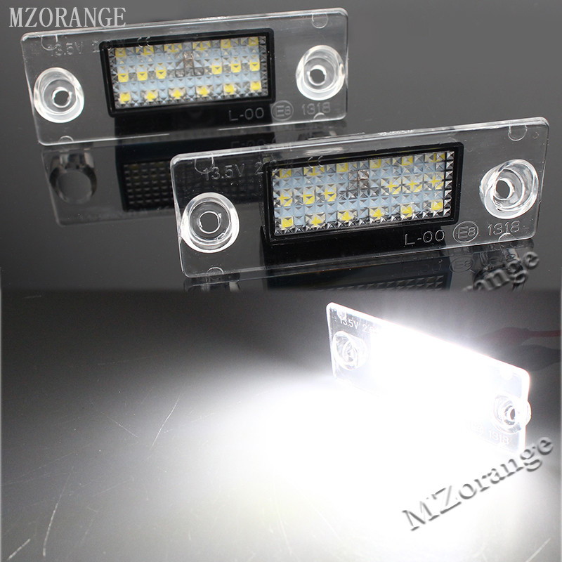 MZORANGE 2PCS/Pair 12V White Auto Car LED License Number Plate Lights Daytime Running Light For Audi A4 S4 B5 98-01 Car Styling cawanerl car canbus led package kit 2835 smd white interior dome map cargo license plate light for audi tt tts 8j 2007 2012