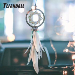 Image 1 - Dream Catcher Car Accessory Interior For Girls Feather Car Mirror Hanging Pendant In Auto Ethnic Home Decor Lucky Car Ornaments