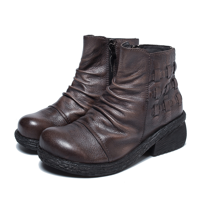 2018 VALLU Antumn Winter Vintage Genuine Leather Women Ankle Boots Pleated Round Toes Cowhide Ladies Boots original 7 inch 163 97mm 7300101463 e231732 hd 1024 600 lcd display screen for cube u25gt tablet pc free shipping