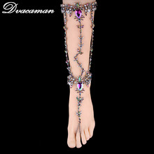 Dvacaman Hot Sexy Leg Chain Ankle Bracelets Sandals Beach Foot Jewelry Summer Luxury Wedding Crystal Anklets 1pcs 6103