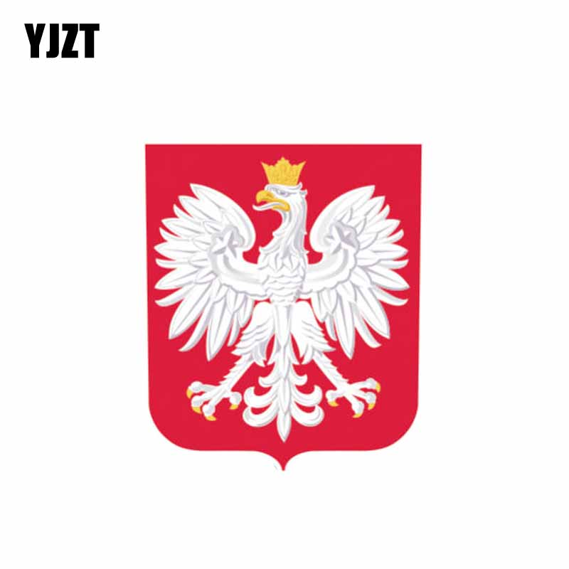 YJZT 8.2CM*10CM Creative Flag Coat Of Arms Poland Car Sticker Decal 6-1089