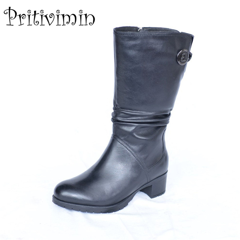 2017 Winter girls warm fur mid calf boots new branded ladies genuine leather handmade shoes women footwear Pritivimin FN25B double buckle cross straps mid calf boots