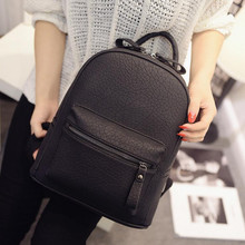 Fashion Women PU Leather Backpacks for School Teenagers Girls Japan&Korean Rucksack Leisure  Shoulder Bags Black Mochila Z95