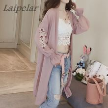 Summer Kimono Cardigan Pink white Women 2018 Korean Flare Sleeve Floral Embroidery Chiffon Blouse Long Shirt Cardigans