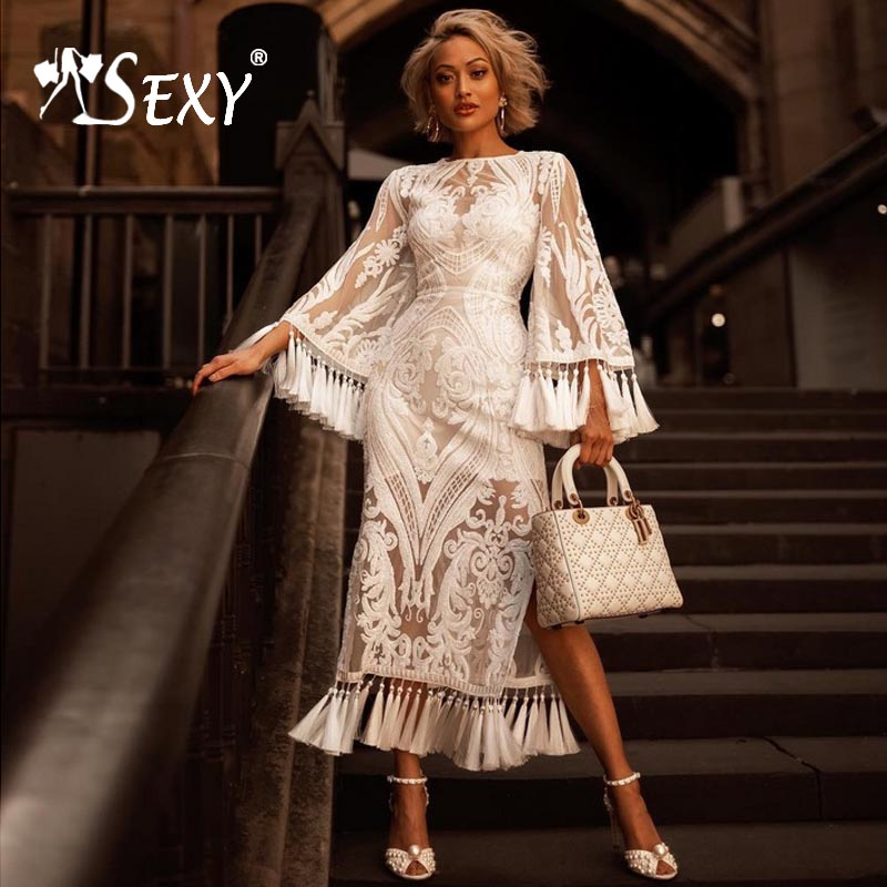 Gosexy 2019 New Sexy O Neck Women Vintage A Line White Bandage Dress Sequins Floral Tassel