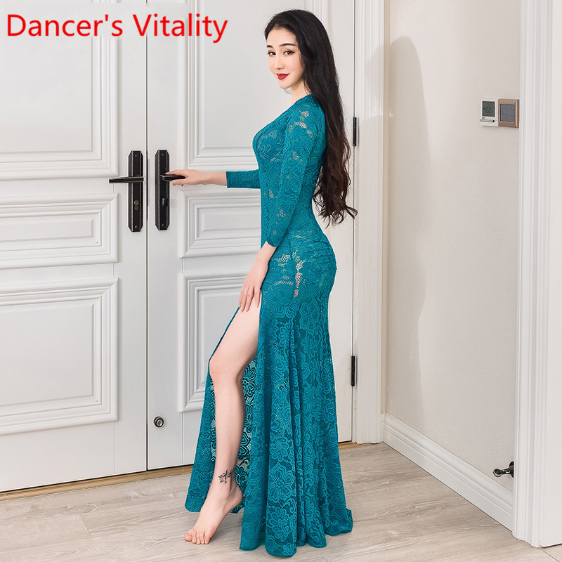 Women Oriental Indian Belly Dance Practice Clothes New Sexy Flared Sleeves Top Modal Long Skirt Set