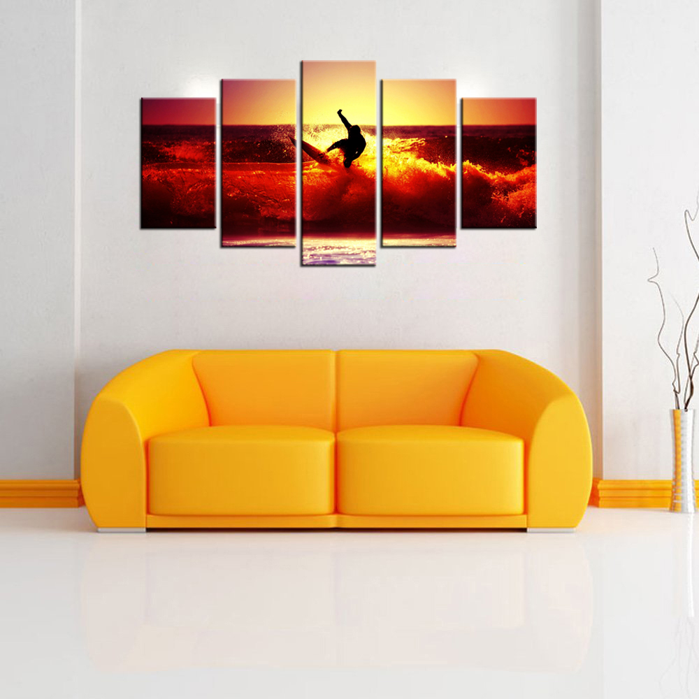 HD Picture Canvas Surfing On Red Waves At Sunset Modern Giclee Print ...