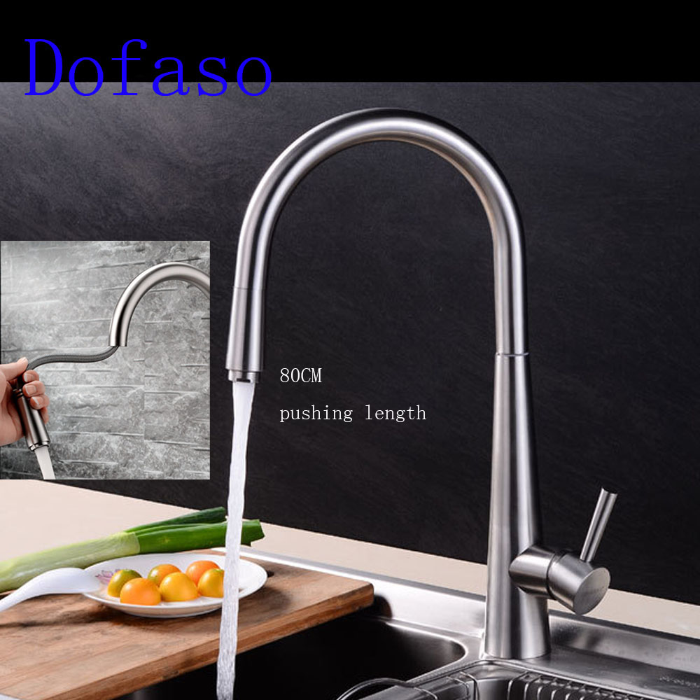 Dofaso 304 Stainless Steel Kitchen Faucet Pull Out Spray Hot & Cold Water Mixer faucets pressure kitchen taps drawing head lead free 304 stainless steel kitchen hot and cold water faucet washing basin faucet wire drawing can be rotated